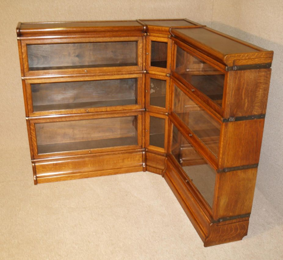 Rare antique oak corner globe wernicke barristers bookcase for Stacking bookcase plans
