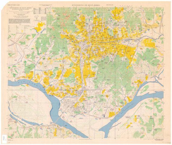 Seoul city plans 1946 Antique world map Maps by ...