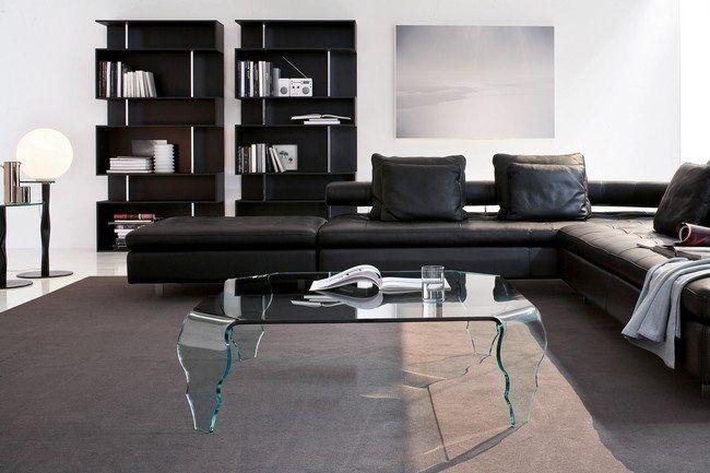 Brilliant Minimalist Living Room Design Trends Brown leather