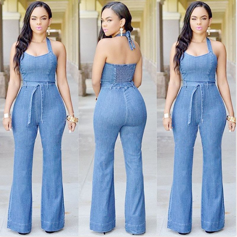 8796d80c040e Women Jean Halter Jumpsuit With Belt Item Type  Jumpsuits   Rompers…  www.deathordesigner.com