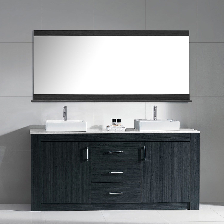 72 Inch Modern Double Sink Bathroom Vanity Grey Finish Stone Top