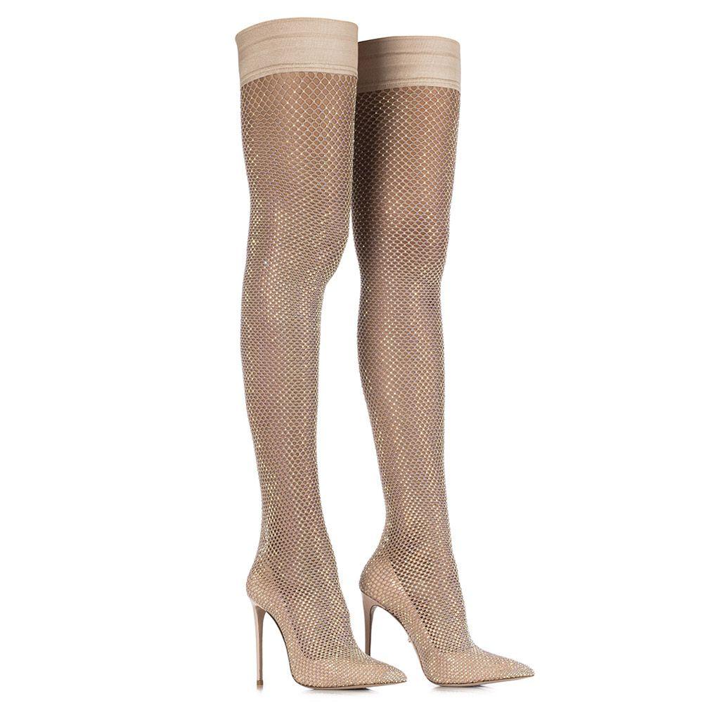 GILDA STRETCH BOOT 120 mm   Skin nude sock Crystals boot