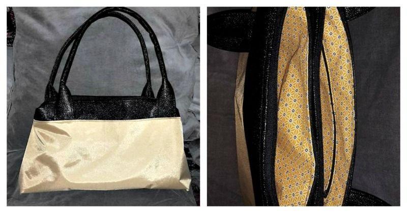 Sac City Zip-Zip cousu par Sophie en simili galuchat et nylon bag - patron couture Sacôtin