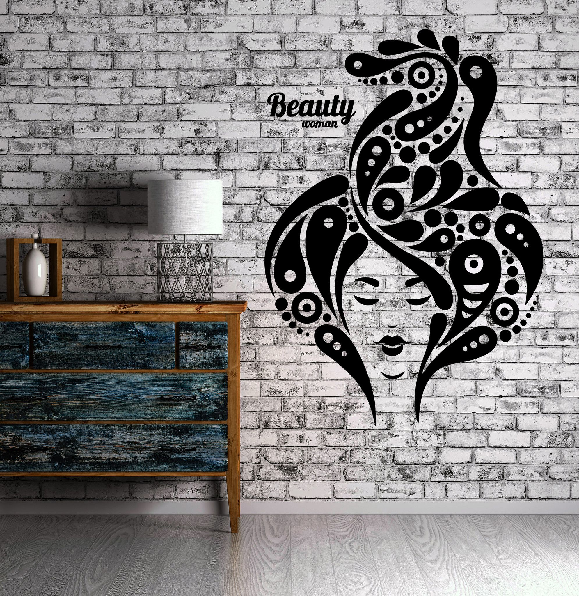 Beauty salon sexy woman hair spa makeupwall sticker vinyl decal