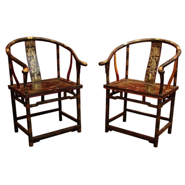 1stdibs.com | Lotus Gallery   A Pair Of Chinese Export Lacquer Horseshoe  Back Arm Chairs
