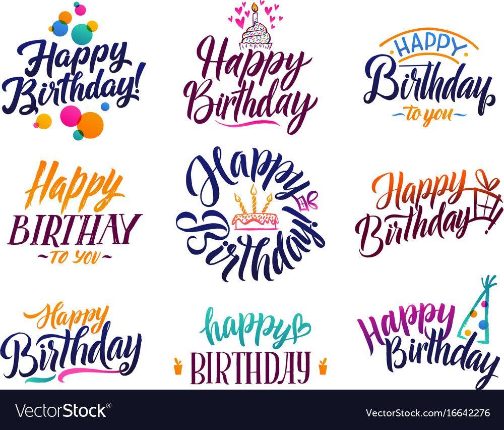 Happy Birthday Elegant Brush Script Text Vector Image On With