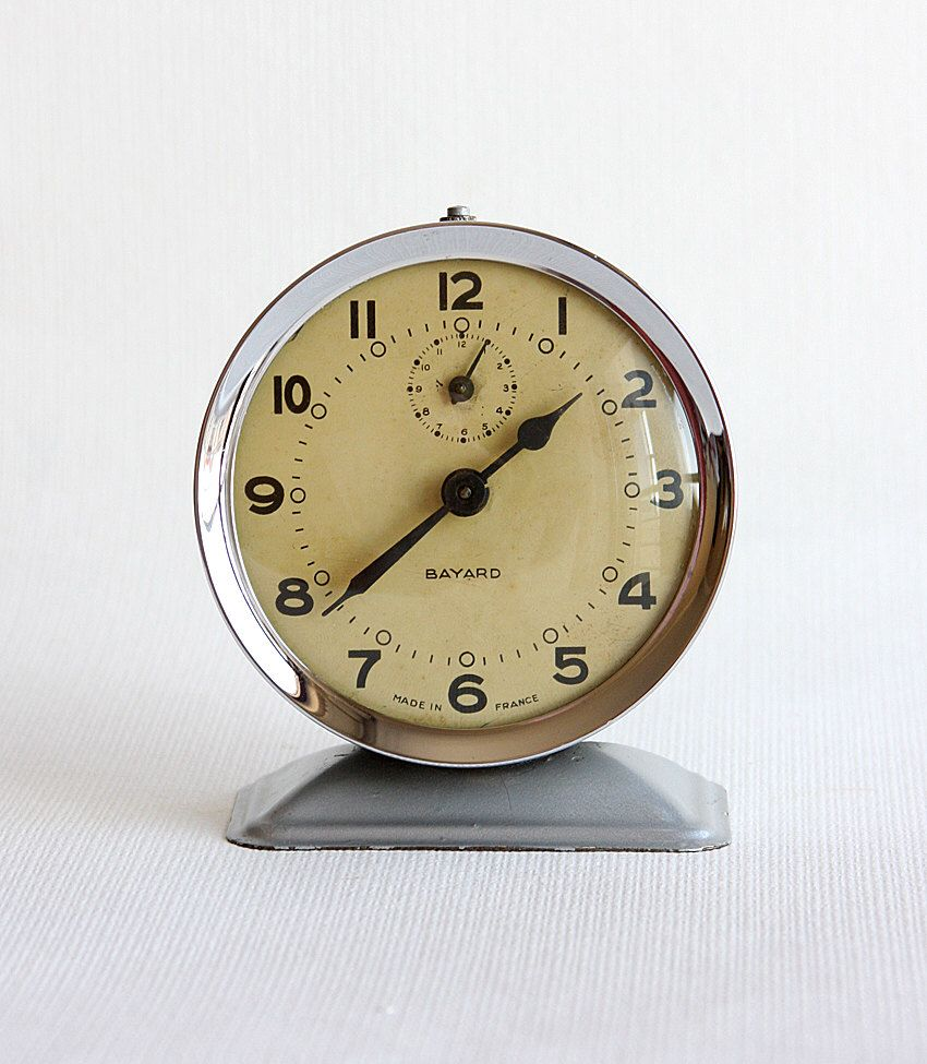 Vintage alarm clock French Bayard 1950's wind up desk clock Antique  Collectible mechanical working metal clock - Vintage Alarm Clock French Bayard 1950's Wind Up Desk Clock