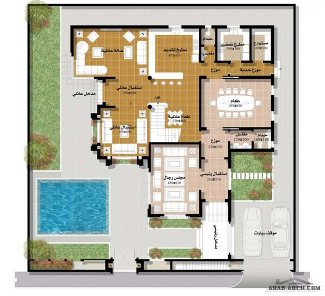 اجمل مجموعه فلل بالمساقط من مسكن العربية نموذج فيلا ٤ المغربية Model House Plan Family House Plans Home Design Floor Plans