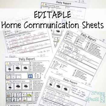 Daily Home Communication Sheets for Special Education