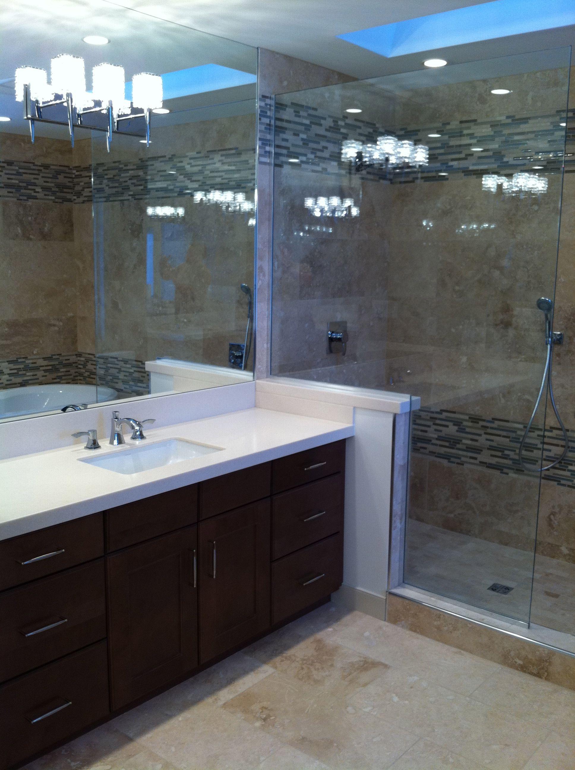 Vanity and tile shower - Bathroom renovation | Calgary Bathworks ...