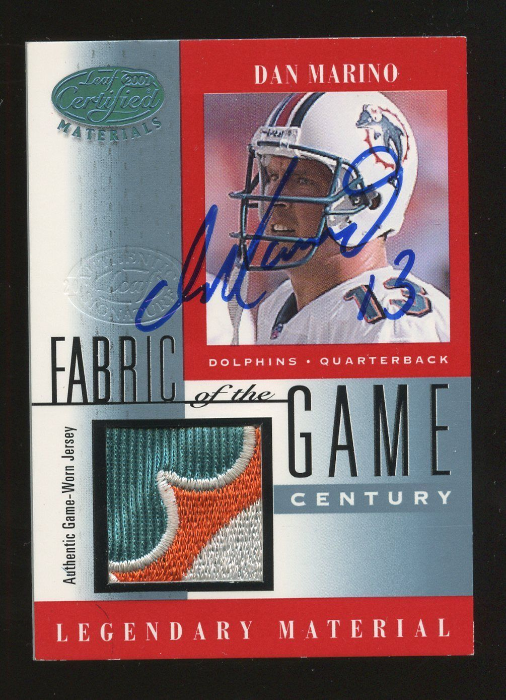 2001 leaf certified fabric of the game dan marino dolphins
