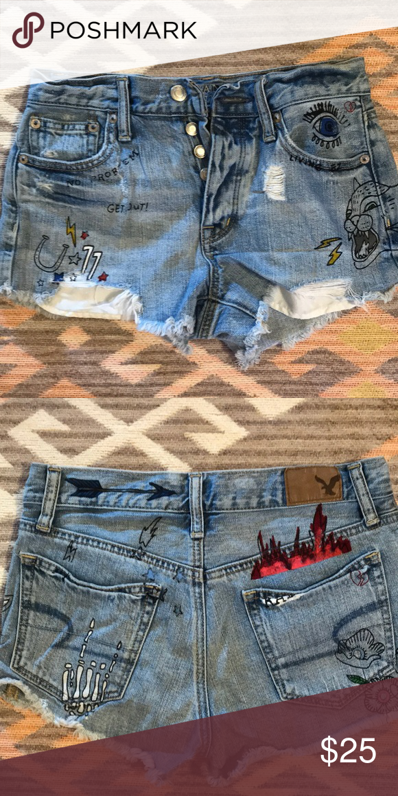 e0e49339f1da American Eagle: Vintage High Rise Shorts Vintage High Rise Jean Shorts!  Cartoon drawings on them for that extra retro look! American Eagle  Outfitters Shorts ...