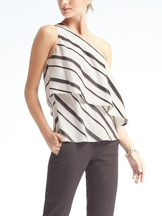 3b522791120e2 Stripe Flounce-Hem One-Shoulder Top