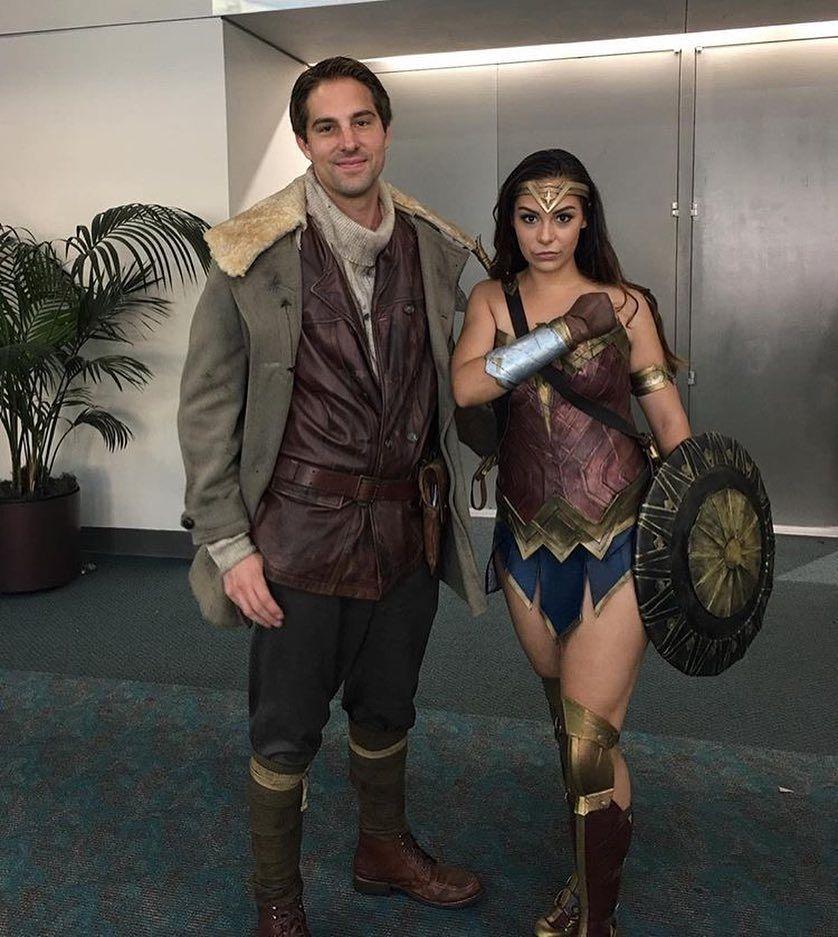Movie Wonder Woman hero Steve Trevor Costume Cosplay Halloween