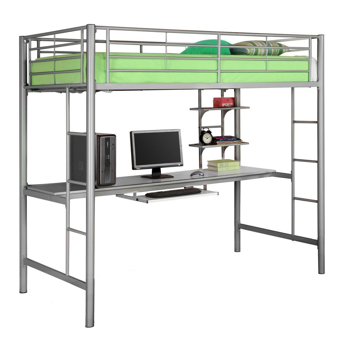 Metal twin over writing computer desk bunk bed silver for Modern bunk bed with desk