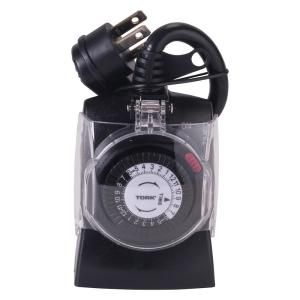 Tork 15 Amp 24 Hour Outdoor Weatherproof Plug In Mechanical Timer With Multiple On Off 2 Grounded Outlet 602b Th Timer Weatherproofing Holiday Lights Outdoor