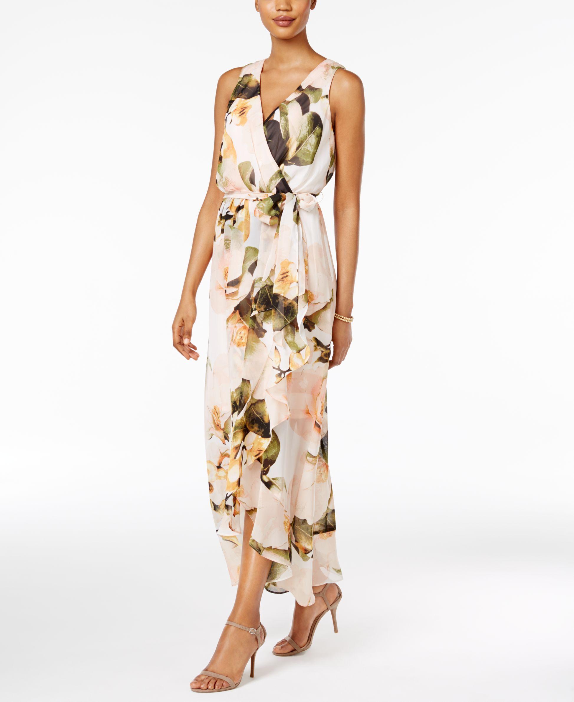 6bb54aa122 Sangria Chiffon Floral Faux-Wrap Maxi Dress