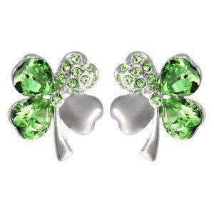 f720709cd47c49 Gold Plated Swarovski Crystal Heart Shaped Four Leaf Clover Stud Earrings –  Peridot Green