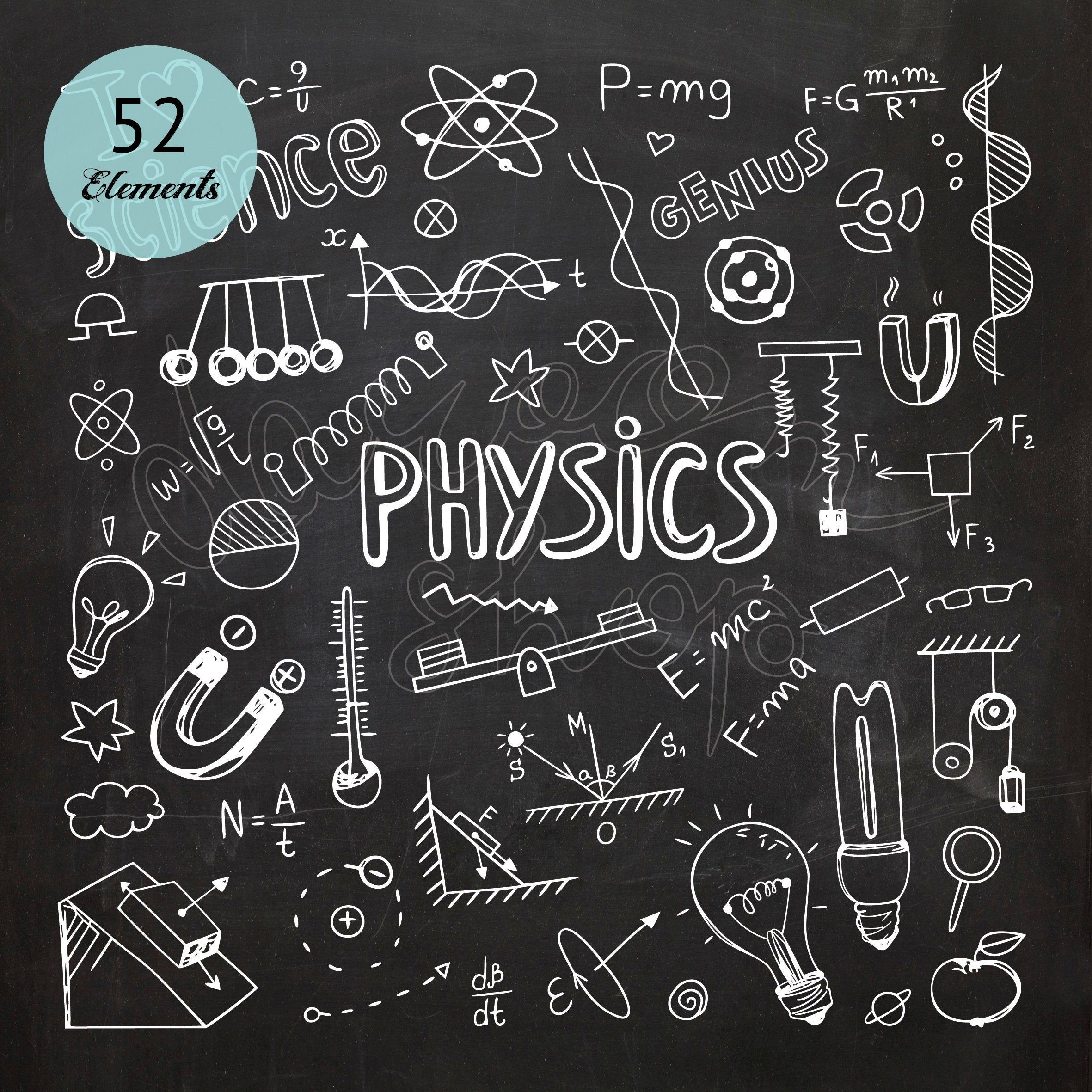 Chalkboard Hand Drawn Physics Clip Art Math Formulas Science Etsy In 2021 Science Symbols How To Draw Hands Chalk Drawings