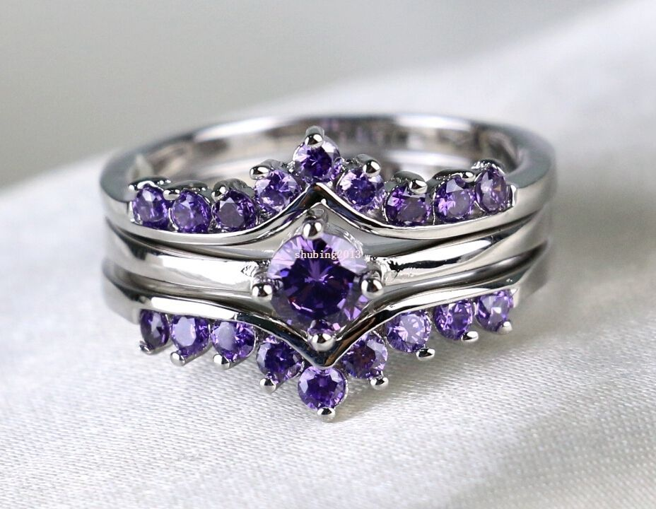 Round 1ct Amethyst 10kt White Gold Filled Women S Wedding Ring Sets Bridal Ring Ebay Wedding Ring Sets Womens Wedding Ring Sets Amethyst Wedding Rings