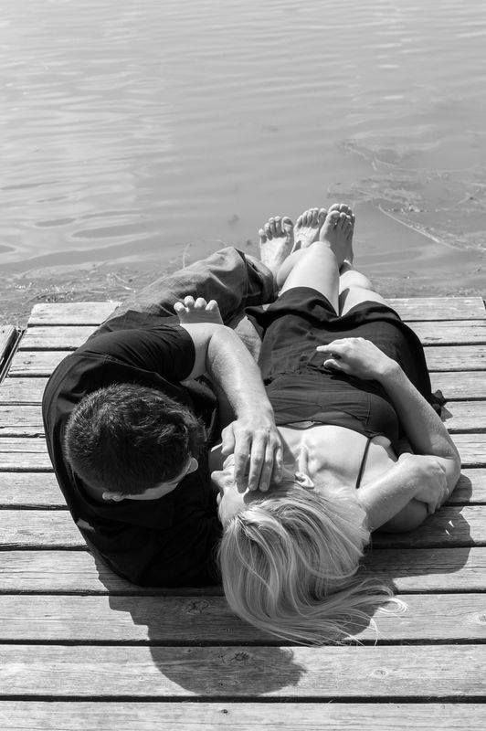 Engagement photo on the dock.  True love.