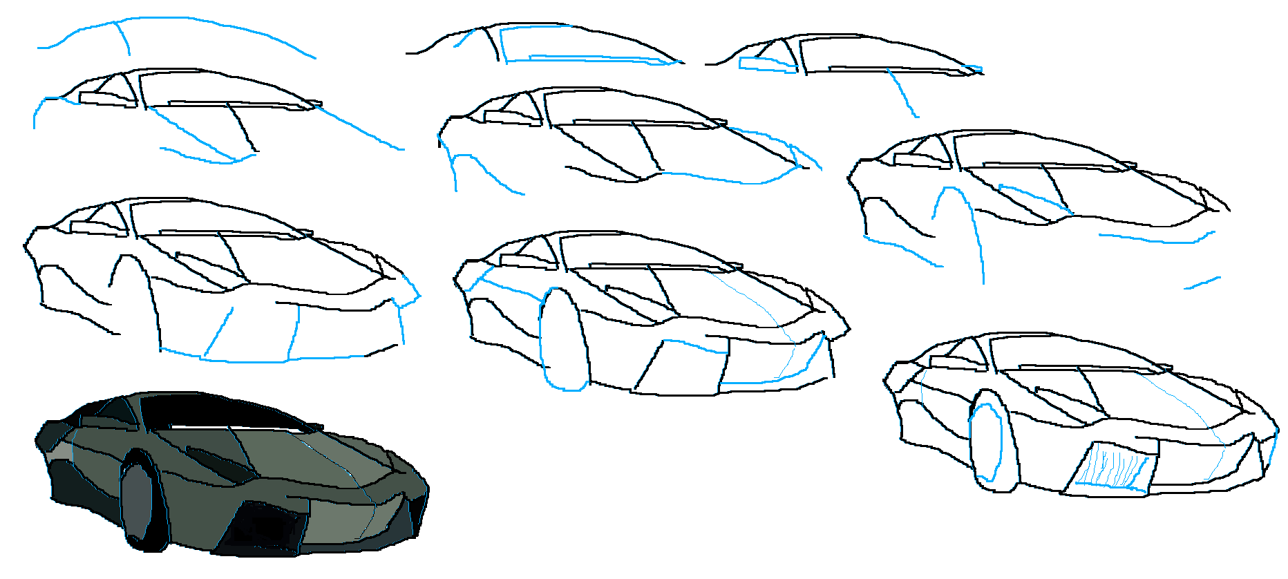 how to draw a lamborghini reventon | art techniques ...