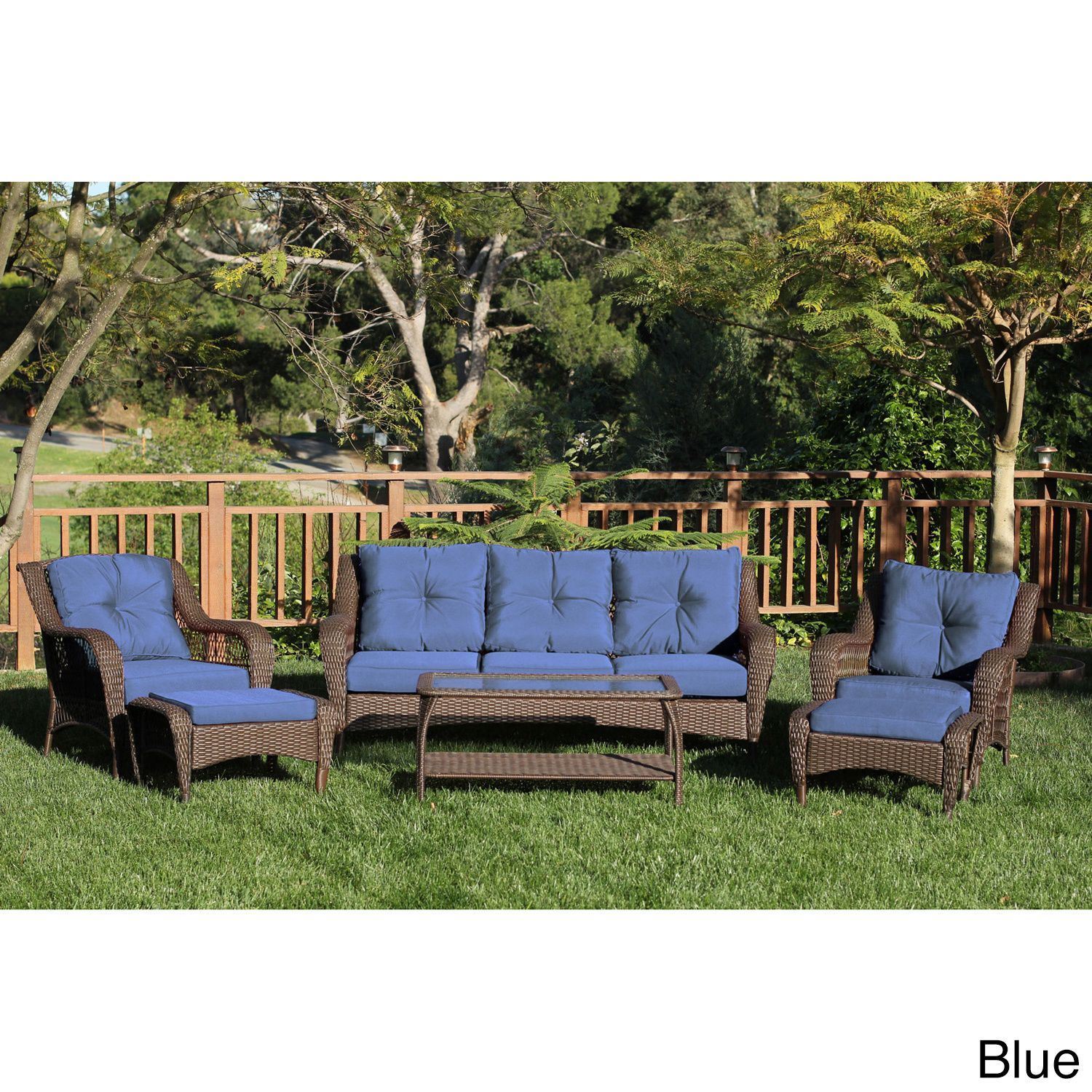 Jeco 6 Piece Resin Wicker Patio Conversation Set Blue Cushions
