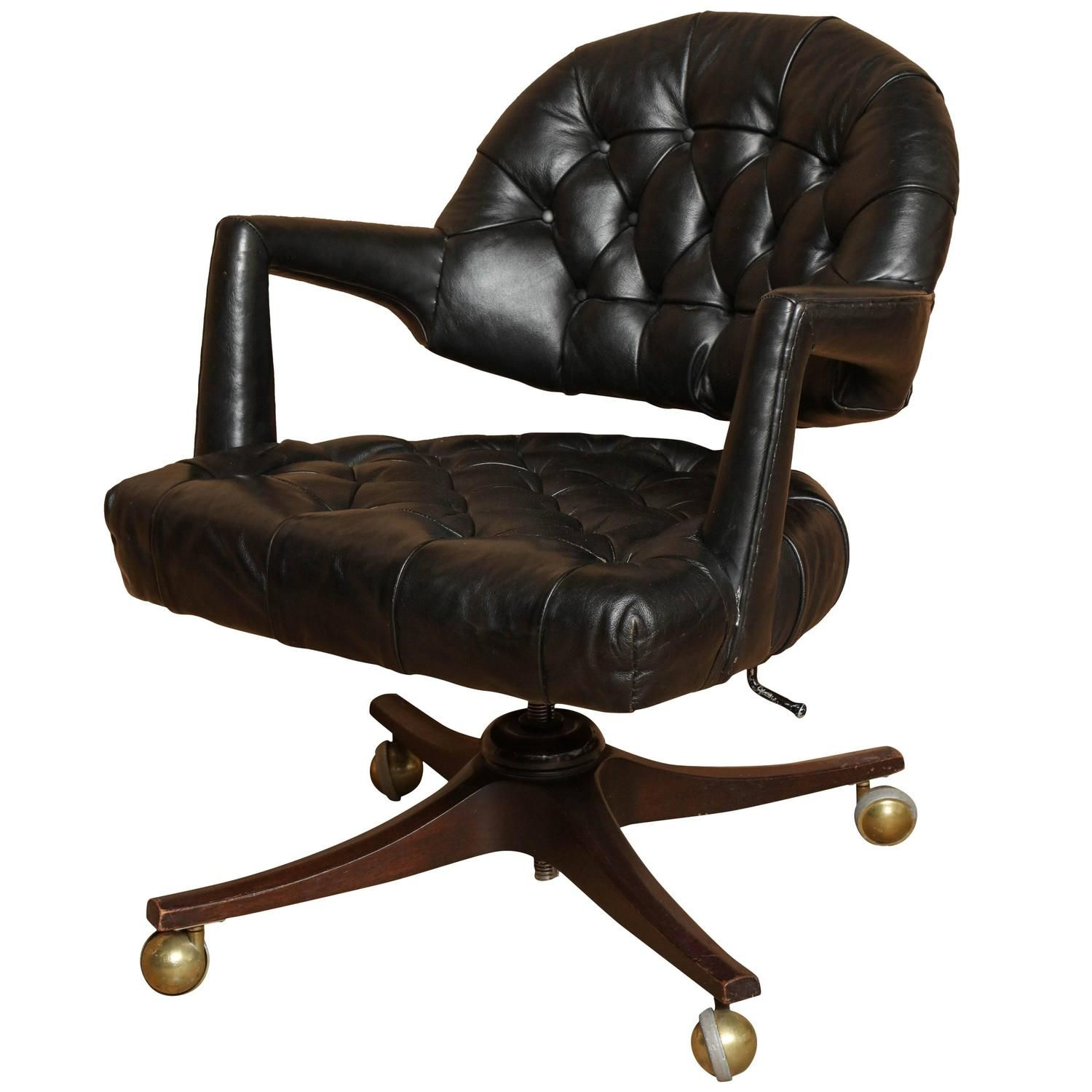 """Dunbar """"Executive"""" Swivel Office Chair in Black Leather by Edward Wormley"""