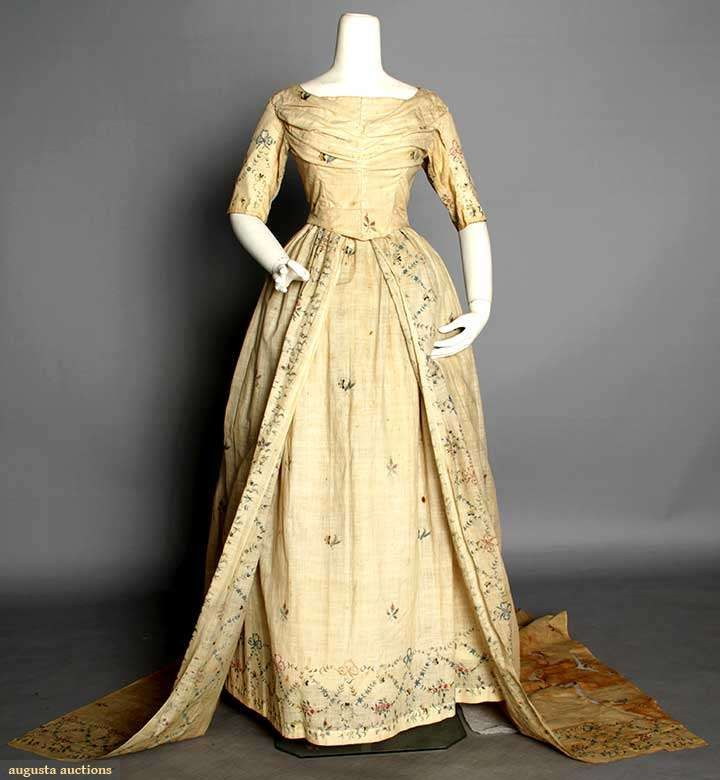 Vintage Wedding Dresses Chicago: Muslin Wedding Gown, 1795, Augusta Auctions, MAY 13th