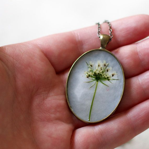 pressed flower necklace snowflake real resin by StudioBotanica
