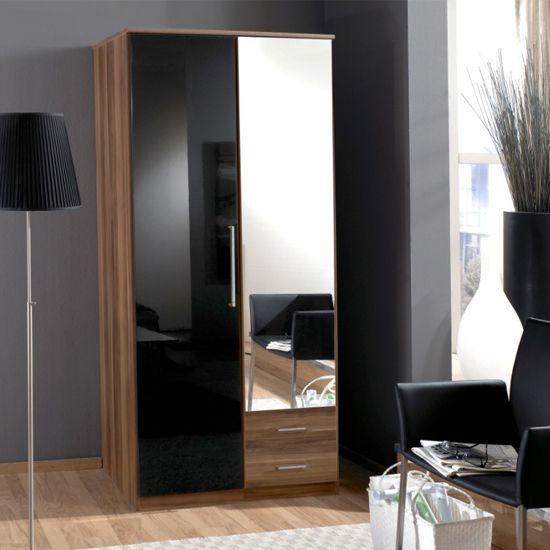Gastinau Wardrobe 2 Door In Walnut And Black And Mirror £