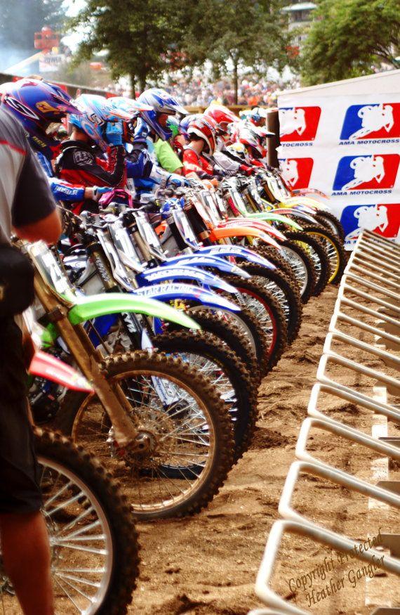 Motorcross Racers Starting Line 8x12 Photo Art By Itspicturesque 20 00 Motorcross Dirt Bikes Dirtbikes