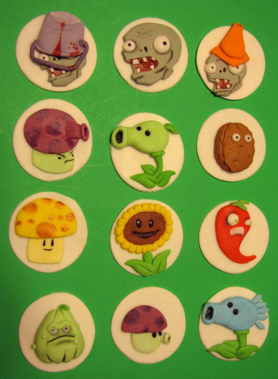 Plants Vs Zombies Cupcake Toppers Thor S Zombie Birthday