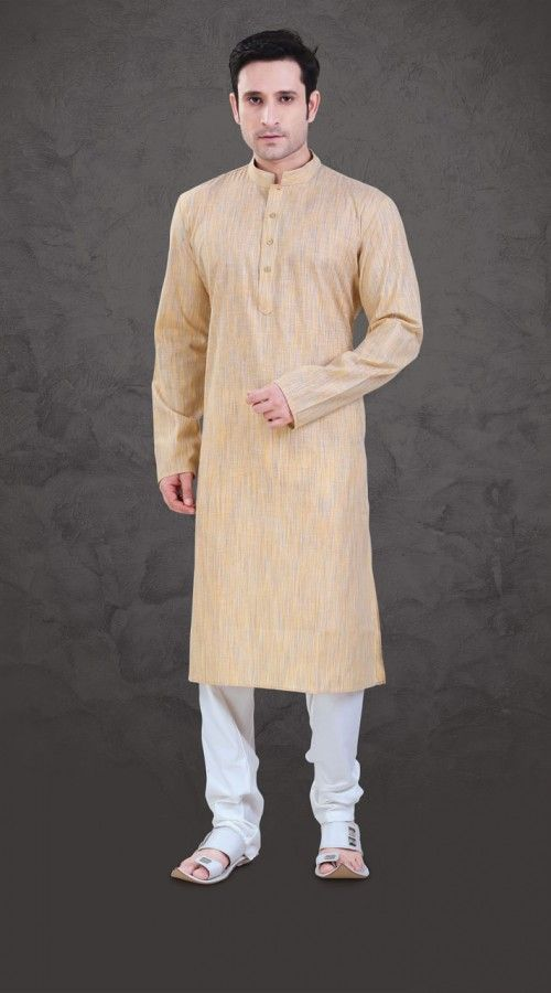 Marvellous Cream Cotton Plain Kurta Payjama For Mens  SI0643  This is a cream kurta crafted from cotton fabric. Comes with matching bottom. stole and mojari can be purchased additionally. They are not a part of this kurta payjama. Extra charges will be charged for size 46 to 50