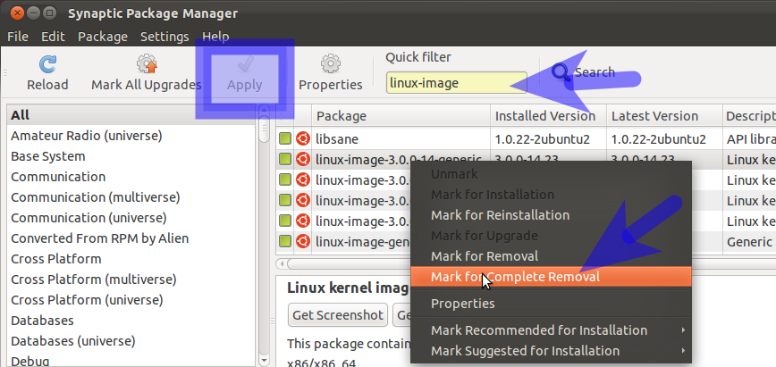Synaptic Package Manager How to remove, Boot menu, This