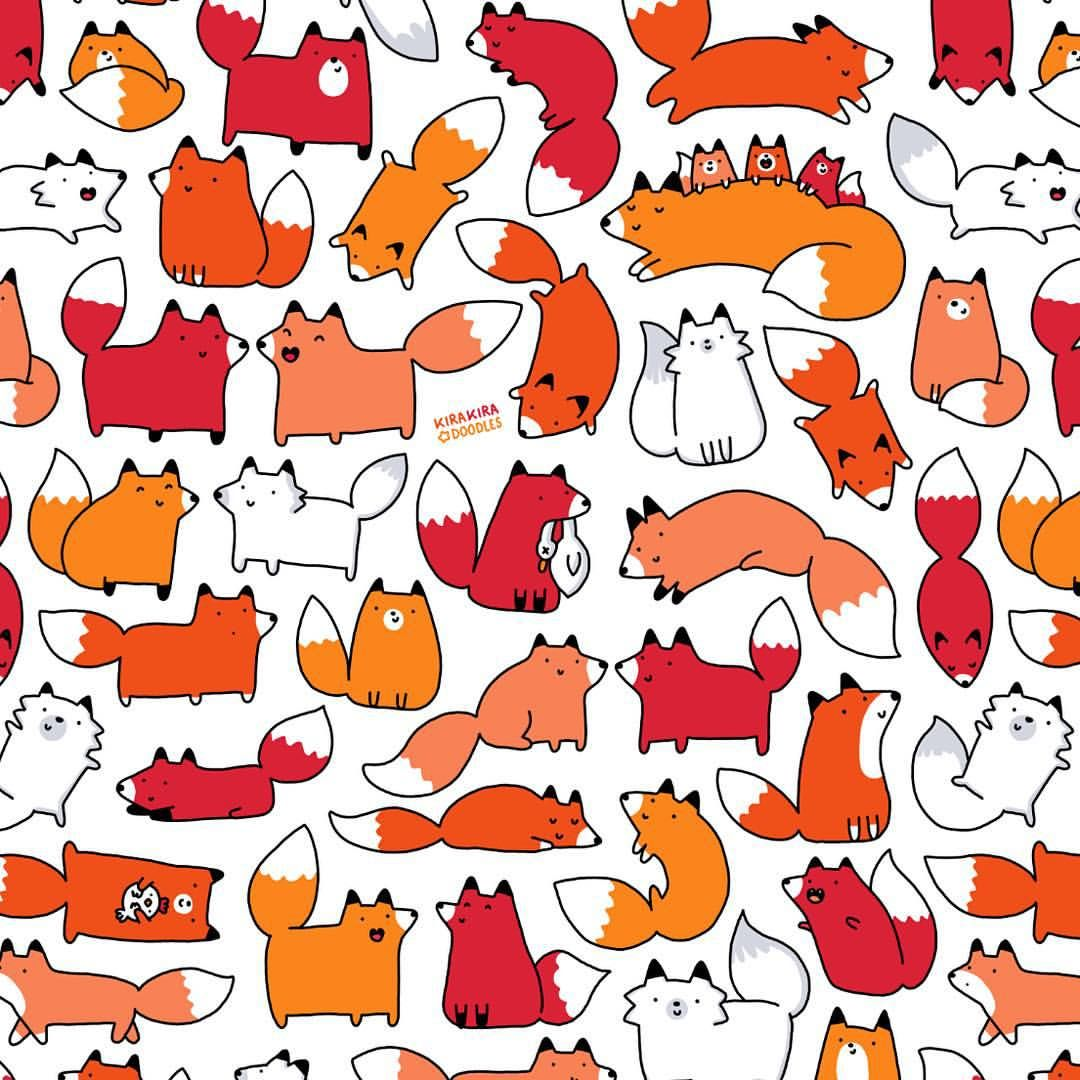 キラキラ Doodles Made A Kawaii Pattern Of My Cute Fox Doodle