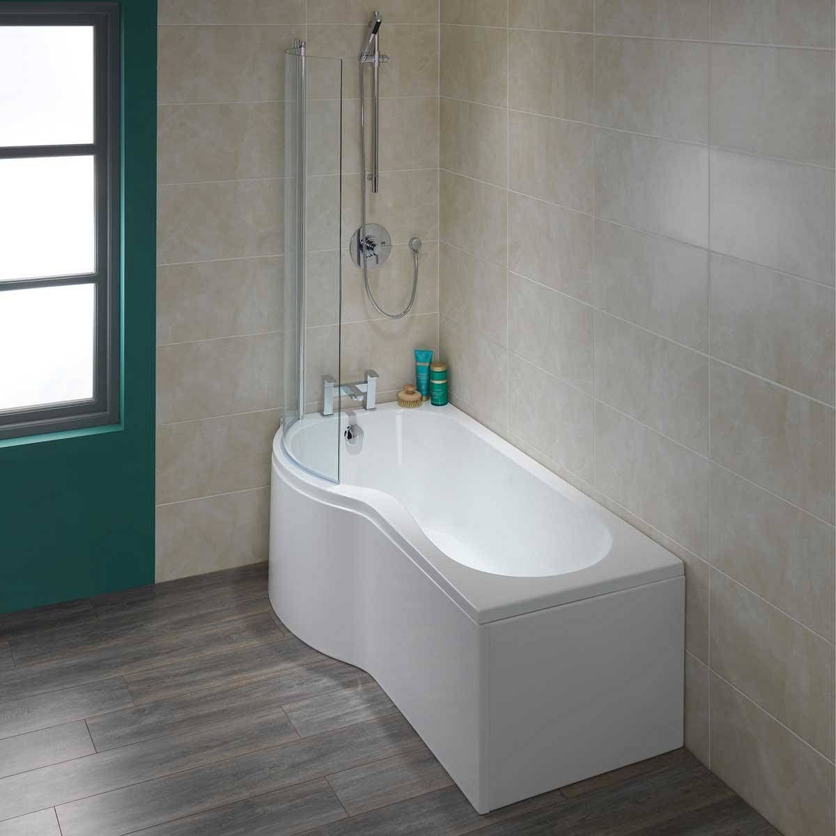 P Shape Shower Bath LH Screen New Bathroom Ideas - Plum towels for small bathroom ideas