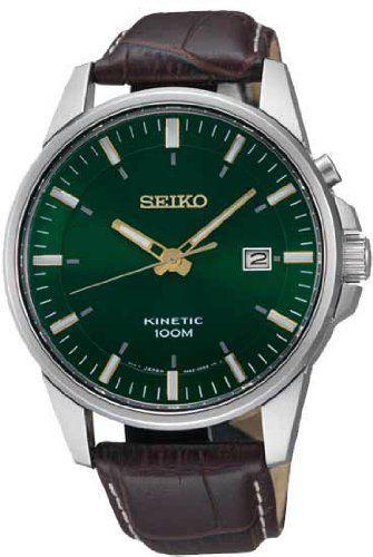 Seiko Kinetic Green Dial Leather Mens Watch SKA533 Seiko. $159.48. Save 65% Off!