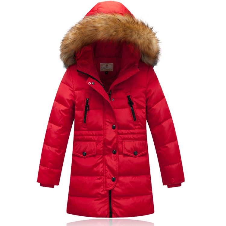 Girls Down Coats Girl Winter Hooded Coat Medium-long Children Down ...