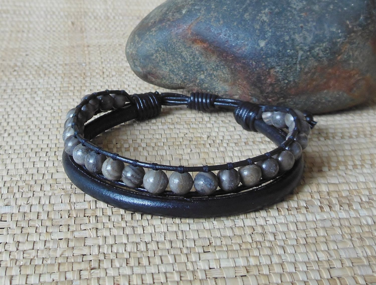dark s adjustable agate with leather masculine men brown rustic bracelet mens pin