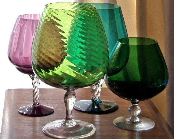 Large Green Italian Optical Glass Brandy Sniftervase Empoli Mid