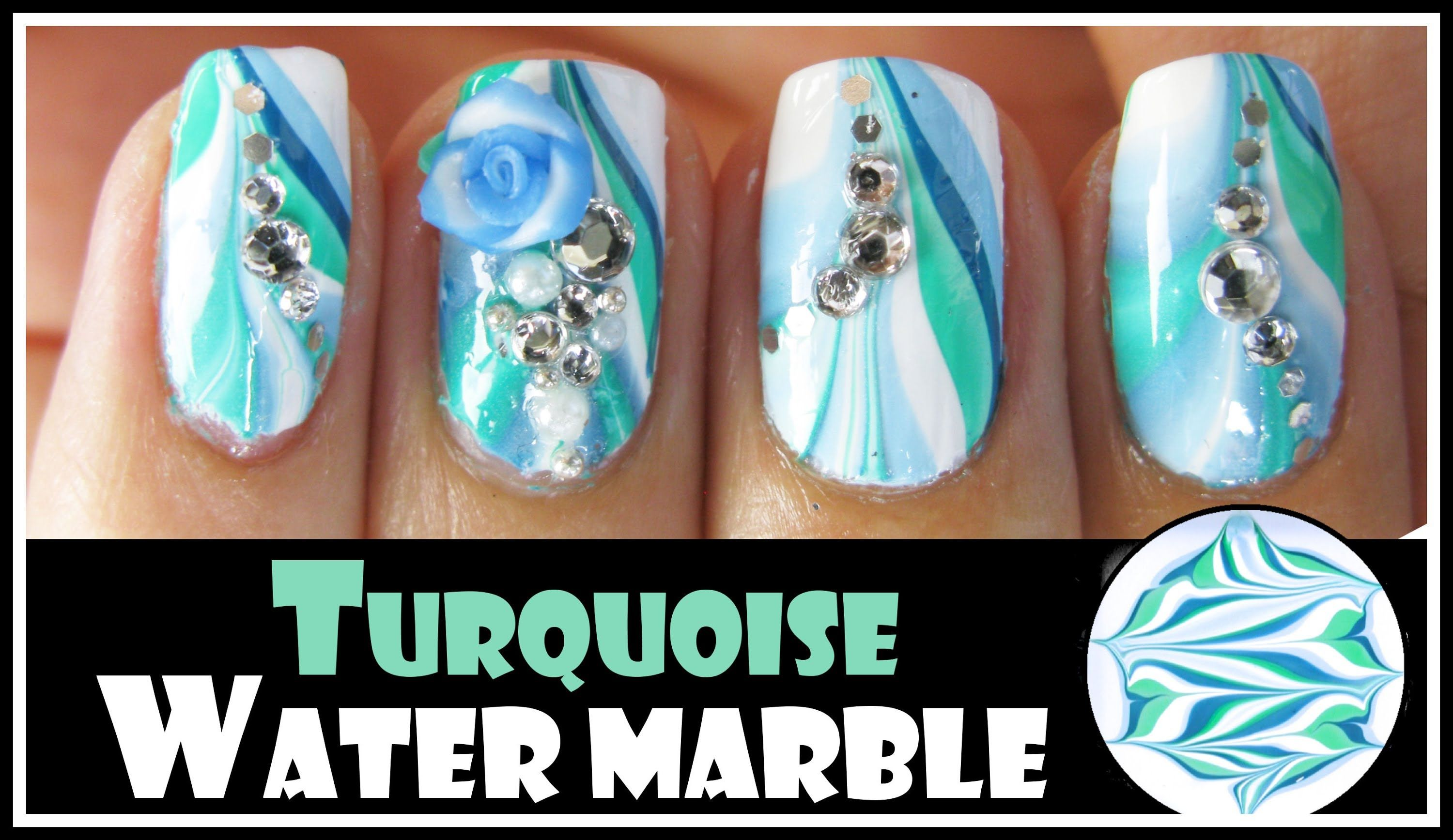 Turquoise Water Marble Nail Art Design For Spring Green Blue