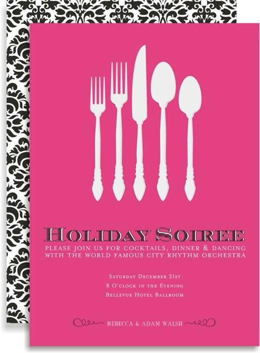 silverware soiree in pink #holiday #christmas #brunch #party #invitation