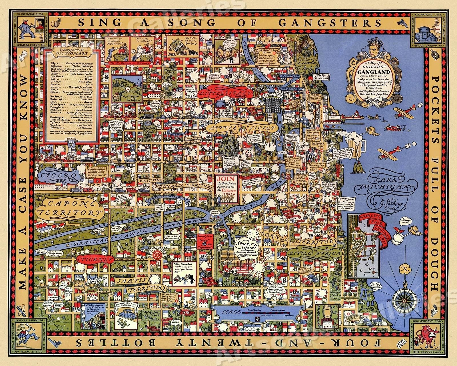 "1930s ""A Map of Chicago's Gangland"" Vintage Style Pictorial Map 16x20"