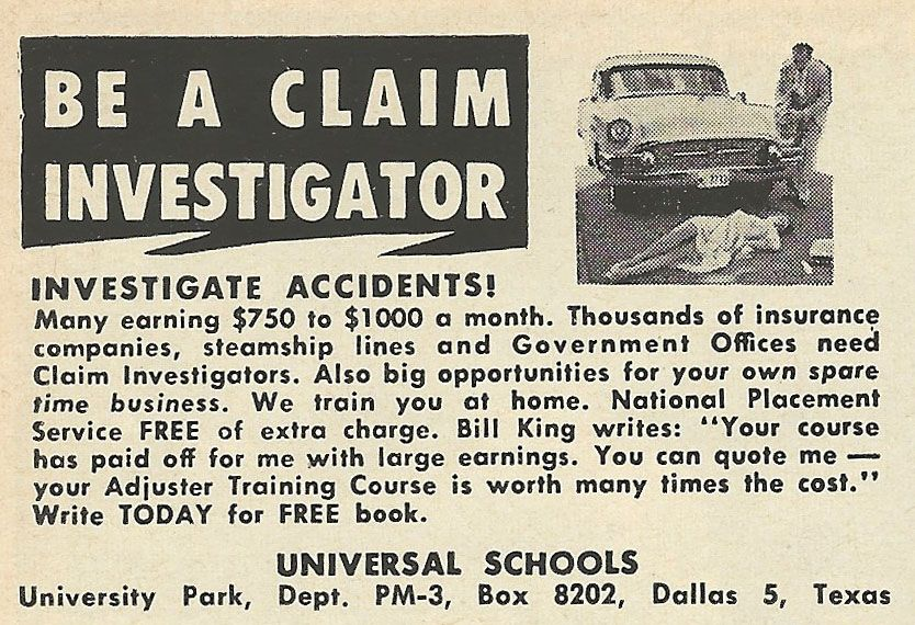 1961 Ad Be A Claim Investigator Ads Vintage Ads About Me Blog