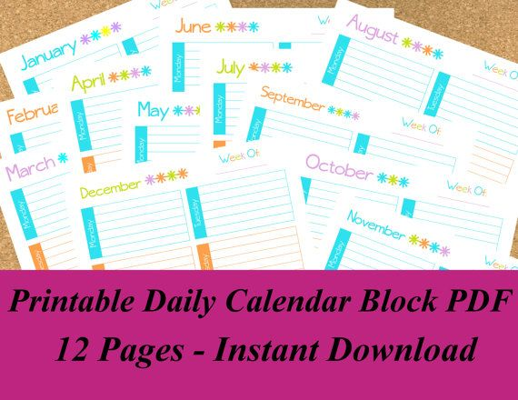 INSTANT DOWNLOAD Printable Daily Calendar Block PDF, Perpetual - Daily Calendar Printable