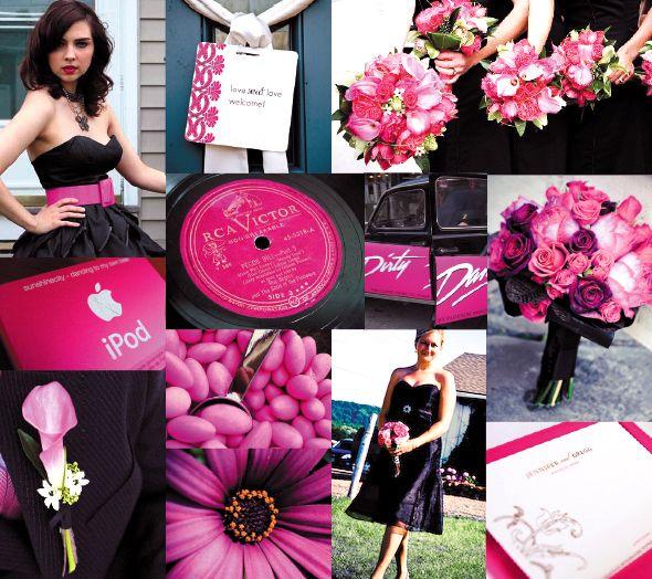 Black Hot Pink Wedding Weddings Planning Fun Stuff Style And Decor