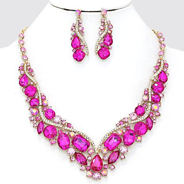 Chunky Pink Fuchsia AB Crystal Rhinestone Wave Gold Formal Evening