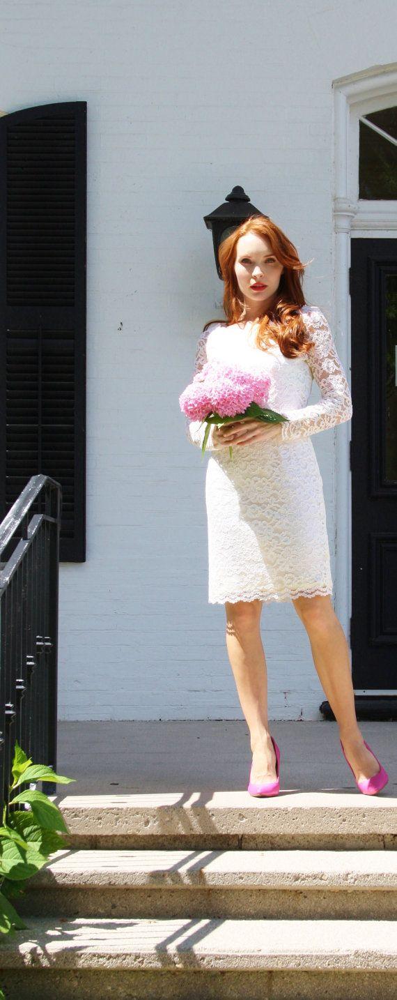 Short Ivory Lace Long Sleeve Wedding Dress / Short Wedding Dress ...