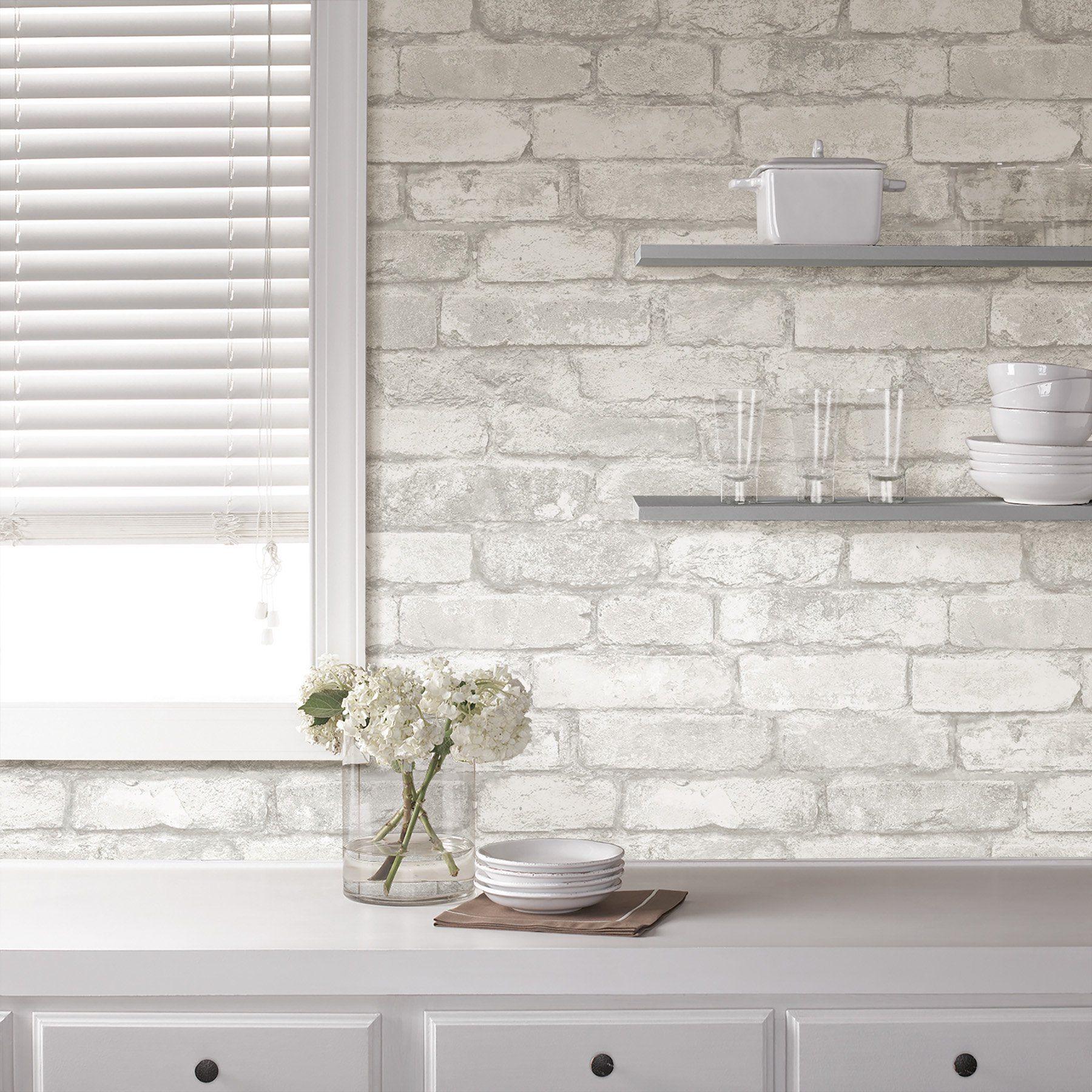 Nuwallpaper Grey And White Brick Peel Stick Wallpaper Walmart Com White Brick Backsplash Kitchen Wallpaper Brick Wallpaper
